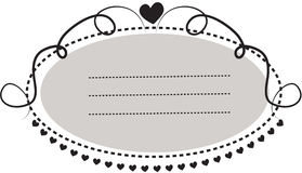 Decorative oblong-shaped frame border with hearts Royalty Free Stock Photos