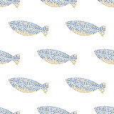 Decorative ocean fish pattern seamless. In vector Stock Photos