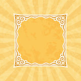 Decorative Ochre Vintage Frame and Background. Decorative squared retro frame silhouette. Light ochre vintage and retro background royalty free illustration