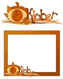 Decorative October frame. Decorative illustration of October picture frame with Halloween pumpkin, isolated on white background Stock Image