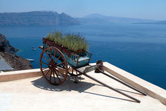 Decorative old cart with flowers on terrace, Santorini, Greece. Royalty Free Stock Image