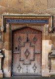 Decorative old door in Oxford royalty free stock images
