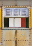 Decorative old metal window with old train Stock Photo