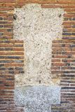 Image of a decorative old and red brick flint wall with moss, old stone wall Royalty Free Stock Photos