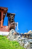 Decorative old watermill. Fragment of decorative old watermill, an example of medieval technologies Stock Photo