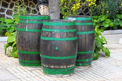 Decorative Old Wooden Barrel Royalty Free Stock Photo
