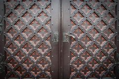 Decorative old wooden church door Royalty Free Stock Photography
