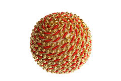 Decorative one red and golden yellow round ball ornament   Royalty Free Stock Images