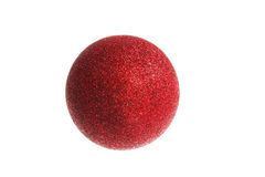 Decorative one red round ball ornament  for Christmas tree Stock Images