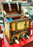 Decorative open the chest for storing wine bottles in the store'. S background Stock Image