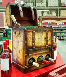 Decorative open the chest for storing wine bottles in the store`. S background Stock Images