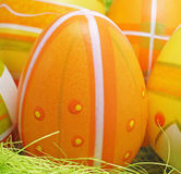 Decorative orange easter egg Stock Images