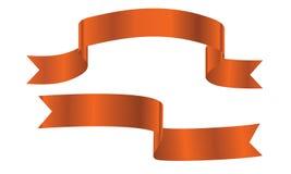 Orange ribbon banners set. Decorative orange ribbon banners set isolated on a white background Stock Photography