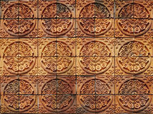 Decorative orange tone color  terracotta tiles wall Royalty Free Stock Photography