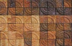 Decorative orange tone color  terracotta tiles wall Stock Photos