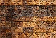 Decorative orange tone color  terracotta tiles wall Royalty Free Stock Photo
