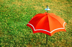 Decorative Orange Umbrella. On green grass Royalty Free Stock Images