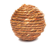 Decorative orange wicker ball  on white. Decorative wicker ball  onwhite Royalty Free Stock Photo