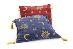 Decorative oriental pillows on the white background. stock images