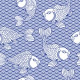 Decorative oriental seamless pattern. Traditional japanese ornament with wave and catfish. Nautical background. Royalty Free Stock Image
