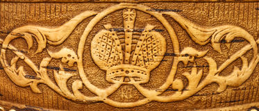 Decorative ornament on birch bark. In the form of the Royal crown Stock Photos