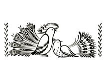 Decorative ornament. Birds, decorative ornament, hand drawn, , black illustration in Ukrainian folk style Royalty Free Stock Images