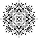 Decorative ornament in ethnic oriental style. Circular pattern in form of mandala for Henna, Mehndi, tattoo, decoration stock illustration
