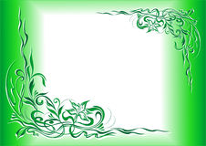 Decorative ornament 005. Green-white floral decorative frame Stock Photo