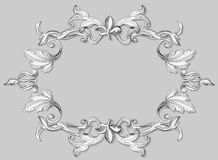 Decorative ornament. Illustration black and white baroque engraving on paper. Floral ornament renaissance era is presented in the form of scrollwork leaves Stock Photos