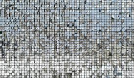 Shiny mirror silver squares. Decorative ornament wall of shiny mirror silver squares royalty free stock photos