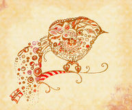 Decorative ornamental bird. On a branch - pencil drawing vector illustration