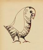 Decorative ornamental bird. Pencil drawing Stock Images