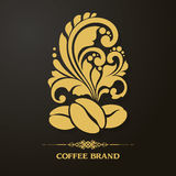 Decorative ornamental coffee beans and floral design elements. royalty free illustration