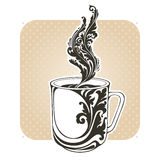 Decorative ornamental cup with coffee or tea. Vector illustration decorative ornate cup of hot drink: coffee or tea in vintage style Royalty Free Stock Photography