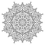 Decorative ornamental element. Black mandala on white background. Vector illustration Royalty Free Stock Photography