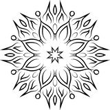 Decorative ornamental element. Black mandala on white background. Vector illustration Stock Photos