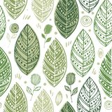 Decorative ornamental endless elegant texture with leaves. Tempate for design fabric, backgrounds, wrapping paper royalty free illustration