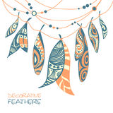 Decorative ornamental ethnic feathers Stock Photography