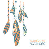 Decorative ornamental ethnic feathers Royalty Free Stock Image