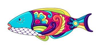 Decorative ornamental fish. Mexican ceramic cute naive art. Ethnic decorative objects. Traditional folk floral ornament vector illustration