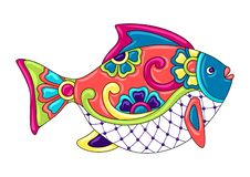 Decorative ornamental fish. Mexican ceramic cute naive art. Ethnic decorative objects. Traditional folk floral ornament royalty free illustration