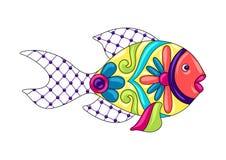 Decorative ornamental fish. Mexican ceramic cute naive art. Ethnic decorative objects. Traditional folk floral ornament stock illustration