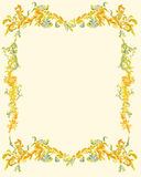 Decorative-ornamental-floral-page-classical-decor. Decorative ornamental floral page victorian, vintage classical color Stock Photo