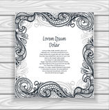 Decorative ornamental frame or border in  Zen-tangle  style black on white Royalty Free Stock Photo