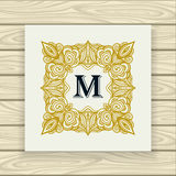 Decorative ornamental frame  gold black on white Stock Photography
