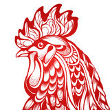 Decorative ornamental graphic red rooster. Decorative ornamental red cock isolated on white. Vector abstract fire cock illustration - symbol 2017 year, logo Stock Photos