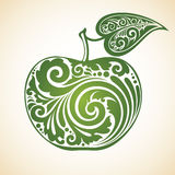 Decorative ornamental green apple with a leaf. Vector illustration Stock Photography