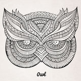 Decorative ornamental Owl head Royalty Free Stock Photography