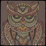 Decorative ornamental Owl. Vector illustration Royalty Free Stock Photography