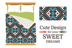 Decorative ornamental pattern for bed sheets. Decorative ornamental pattern sample and the example of usage as bed sheets. Cute design for your sweet dreams Royalty Free Stock Images